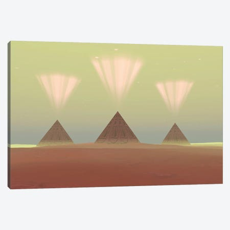 The Lights From Ancient Pyramids Join With The Stars Overhead 3-Piece Canvas #TRK2342} by Corey Ford Canvas Art Print
