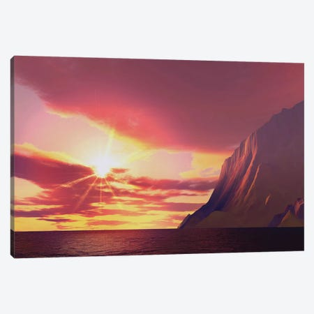 The Sun Blazes With Its Dying Embers Before Sunset Canvas Print #TRK2344} by Corey Ford Canvas Wall Art