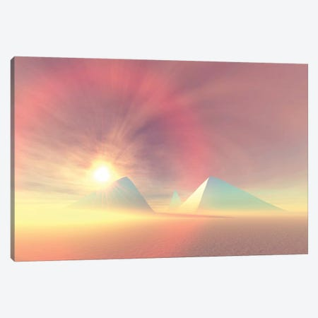The Sun Rises On Egyptian Pyramids On A Desert Morning Canvas Print #TRK2346} by Corey Ford Canvas Wall Art