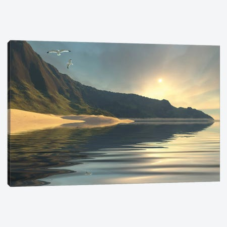 The Sun Sets On A Beautiful Mountainside And Shoreline Canvas Print #TRK2347} by Corey Ford Canvas Artwork