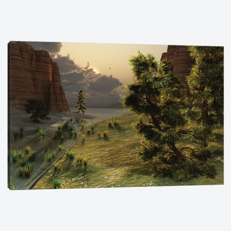The Trees Are Kissed By Sunlight Before An Approaching Storm Canvas Print #TRK2350} by Corey Ford Canvas Wall Art