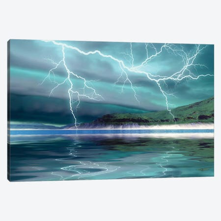 Thunderclouds And Lightning Move Over The Mountains And A Nearby Lake Canvas Print #TRK2353} by Corey Ford Canvas Art