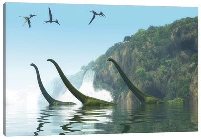 Two Adult Mamenchisaurus Dinosaurs Escort A Youngster Across A River Canvas Art Print