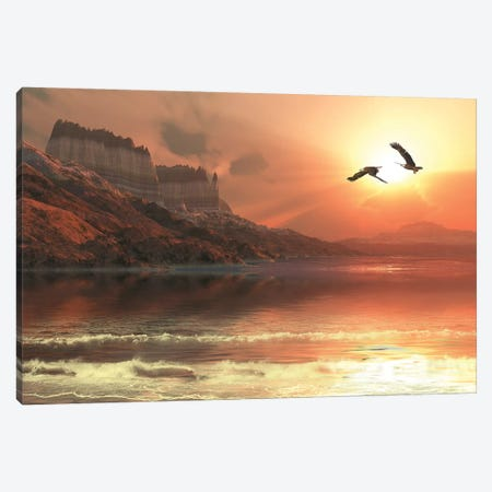 Two Bald Eagles Fly Along A Mountainous Coastline At Sunset Canvas Print #TRK2355} by Corey Ford Canvas Art Print