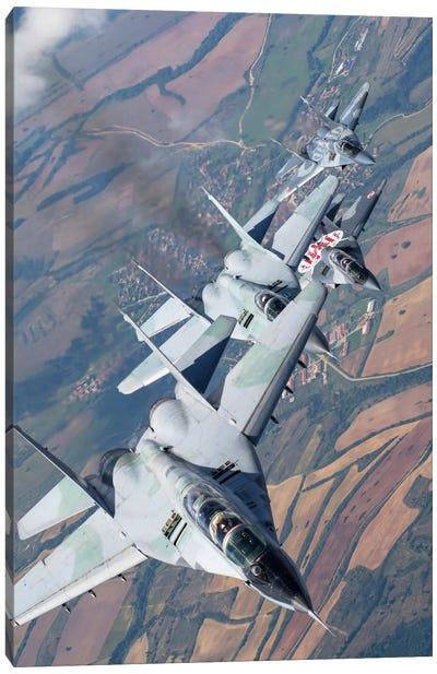 Bulgarian And Polish Air Force MiG-29s Flying Over Bulgaria I Canvas Art Print