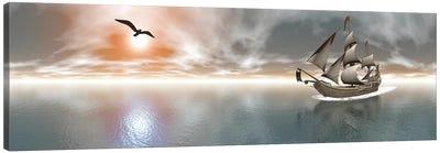 Pirate Ship Sailing The Ocean During Sunset. Canvas Art Print