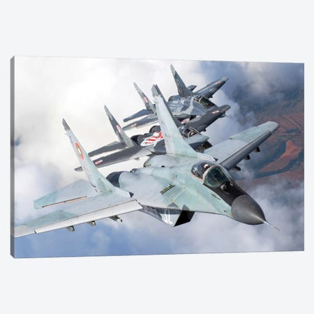 Bulgarian And Polish Air Force MiG-29s Flying Over Bulgaria II Canvas Print #TRK236} by Daniele Faccioli Canvas Print