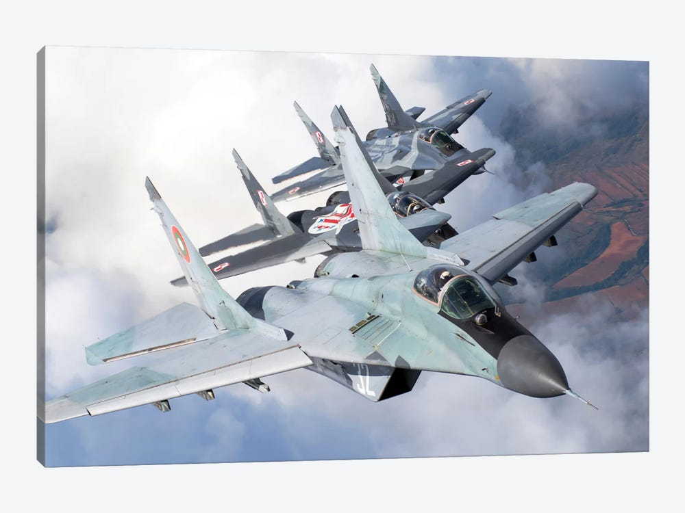Bulgarian And Polish Air Force MiG-29s Flying Over Bulgaria II by Daniele Faccioli 1-piece Art Print