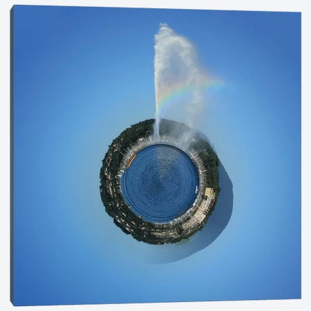 Planet With Water Fountain, Geneva, Switzerland Canvas Print #TRK2371} by Elena Duvernay Canvas Artwork