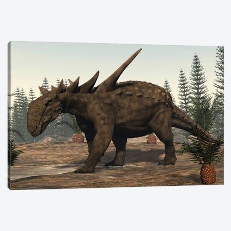 Sauropelta Dinosaur Roaming. Canvas Print #TRK2372} by Elena Duvernay Canvas Wall Art