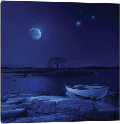 A Boat Moored Near An Icy Stone In A Lake Against Starry Sky, Finland. Canvas Art Print