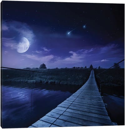A Bridge Across The River At Night Against Starry Sky, Russia. Canvas Art Print