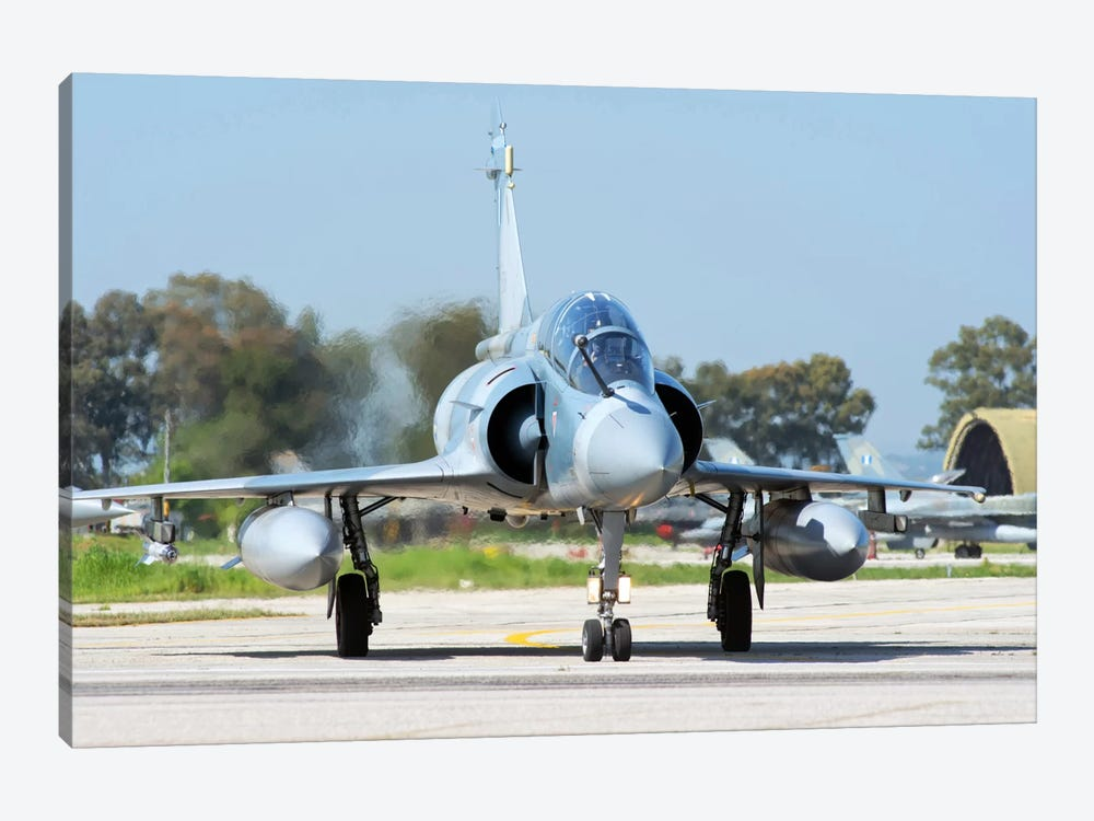 Hellenic Air Force Mirage 2000-5BG Preparing For Takeoff 1-piece Canvas Artwork