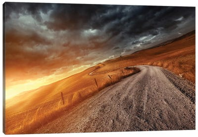 A Country Road In Field At Sunset Against Stormy Clouds, Tuscany, Italy. Canvas Art Print