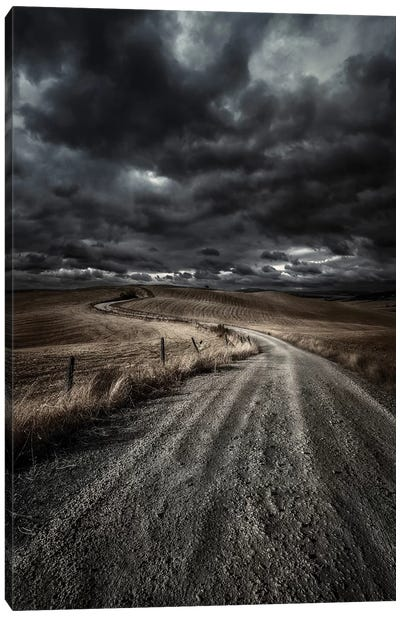 A Country Road In Field With Stormy Sky Above, Tuscany, Italy. Canvas Art Print