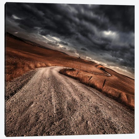A Country Road In Field With Stormy Sky Above, Tuscany, Italy. Canvas Print #TRK2383} by Evgeny Kuklev Canvas Print