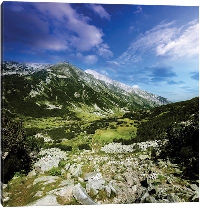 A Green Valley Through Pirin Mountains, Pirin National Park, Bulgaria. Canvas Art Print