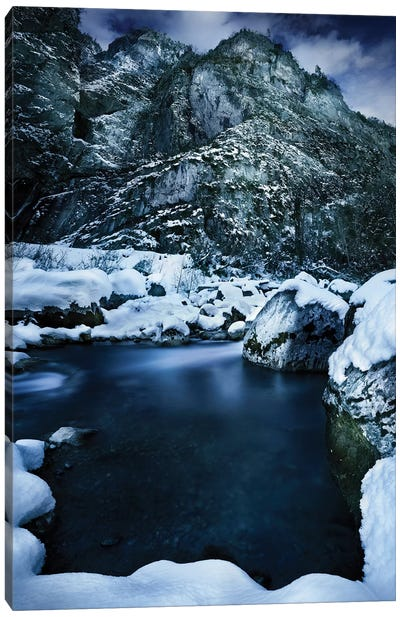 A River Flowing Through The Snowy Mountains Of Ritsa Nature Reserve, Abkhazia. Canvas Art Print