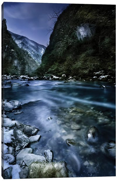 A River Flowing Through The Snowy Mountains Of Ritsa Nature Reserve. Canvas Art Print