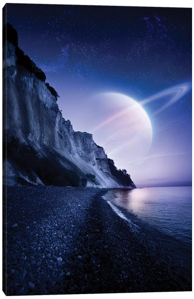 A Saturn-Like Planet Hovers Over A Tranquil Sea And Mons Klint Cliffs, Denmark. Canvas Art Print