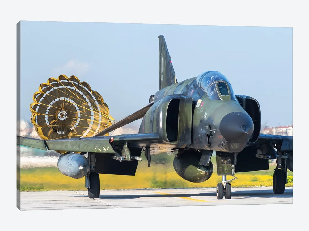 Hellenic Air Force RF-4E Phantom II Recovering Its Drag Chute At Larissa Air Base, Greece by Daniele Faccioli 1-piece Canvas Artwork