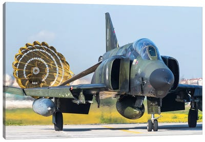 Hellenic Air Force RF-4E Phantom II Recovering Its Drag Chute At Larissa Air Base, Greece Canvas Art Print