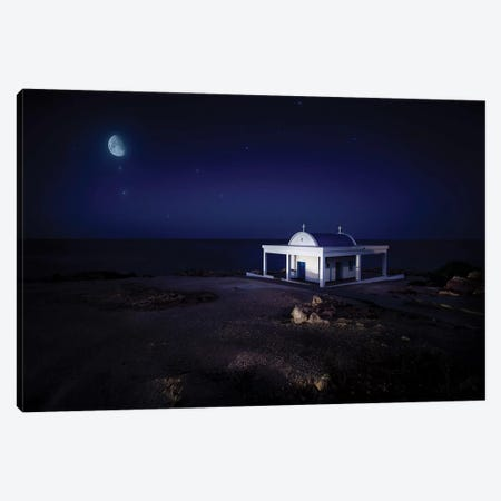 A Small Church At Night With Starry Sky, Crete, Greece. Canvas Print #TRK2400} by Evgeny Kuklev Canvas Wall Art