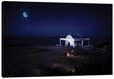A Small Church At Night With Starry Sky, Crete, Greece. Canvas Art Print
