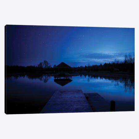 A Small Pier In A Lake Against Starry Sky, Moscow Region, Russia. Canvas Print #TRK2401} by Evgeny Kuklev Canvas Wall Art