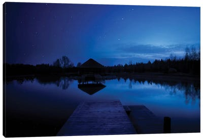 A Small Pier In A Lake Against Starry Sky, Moscow Region, Russia. Canvas Art Print
