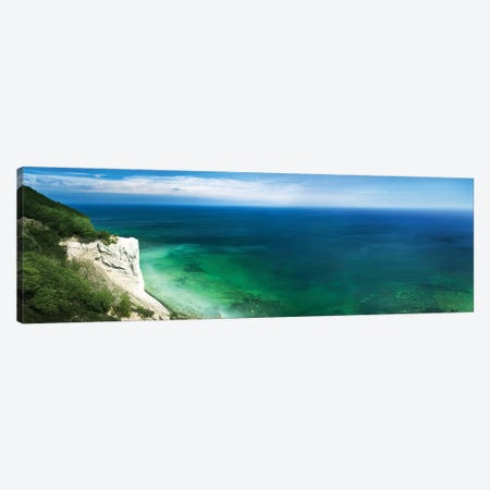 Aerial View Of Chalk Mountain And Sea, Mons Klint Cliffs, Denmark. Canvas Print #TRK2403} by Evgeny Kuklev Canvas Artwork