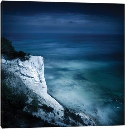 Aerial View Of Chalk Mountain And Sea, Mons Klint Cliffs, Denmark. Canvas Art Print