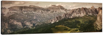 Aerial View Of Dolomite Alps Against Tranquil Clouds, Northern Italy. Canvas Art Print