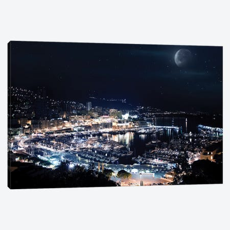 Aerial View Of Port Hercules In Monaco At Night. Canvas Print #TRK2406} by Evgeny Kuklev Art Print