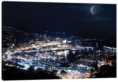 Aerial View Of Port Hercules In Monaco At Night. Canvas Art Print