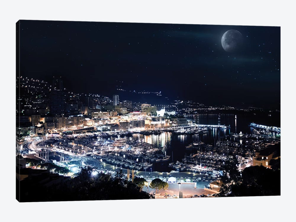 Aerial View Of Port Hercules In Monaco At Night. by Evgeny Kuklev 1-piece Canvas Wall Art