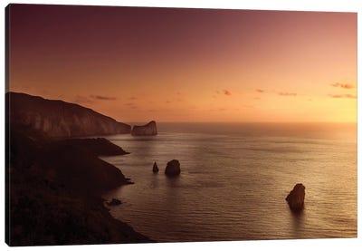 Aerial View Of Sea And Mountains At Sunset, Nebida, Sardinia, Italy. Canvas Art Print