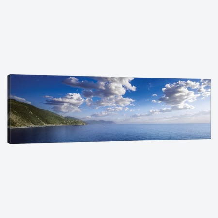 Aerial View Of Sea And Mountains, Manarola, Italy. Canvas Print #TRK2408} by Evgeny Kuklev Canvas Wall Art