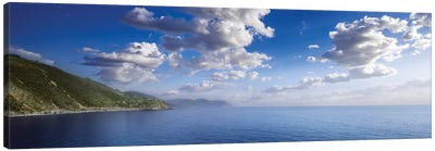 Aerial View Of Sea And Mountains, Manarola, Italy. Canvas Art Print