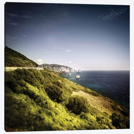 Aerial View Of Sea And Mountains, Nebida, Sardinia, Italy. 3-Piece Canvas #TRK2409} by Evgeny Kuklev Canvas Wall Art