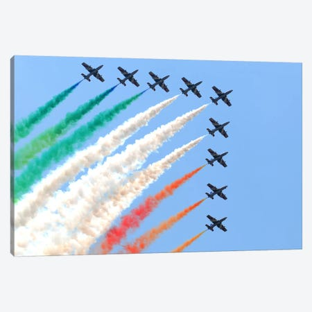 Italian Air Force Aerobatic Team Frecce Tricolori Performing At Izmir Air Show Canvas Print #TRK240} by Daniele Faccioli Art Print