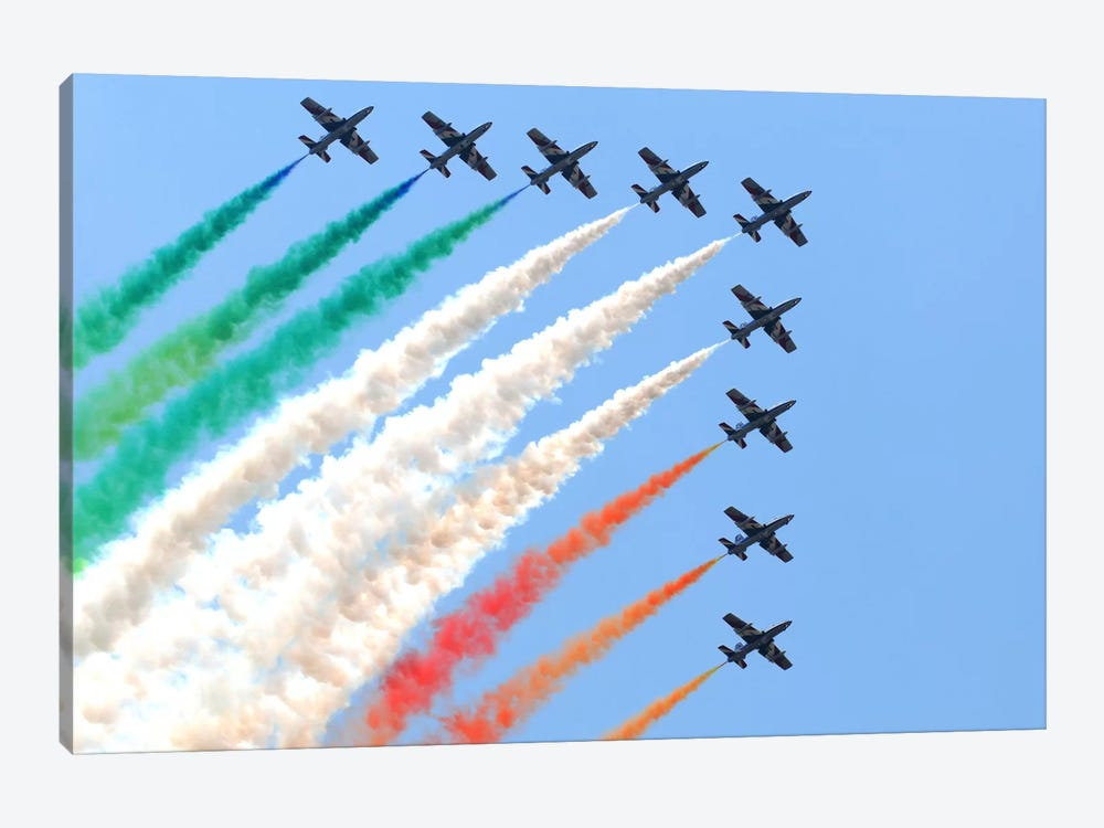 Italian Air Force Aerobatic Team Frecce Tricolori Performing At Izmir Air Show by Daniele Faccioli 1-piece Canvas Wall Art