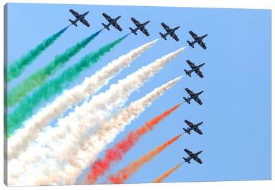 Italian Air Force Aerobatic Team Frecce Tricolori Performing At Izmir Air Show Canvas Art Print
