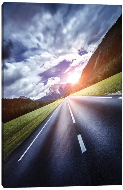An Asphalt Road Leading To The Dolomite Alps At Sunset, Northern Italy. Canvas Art Print