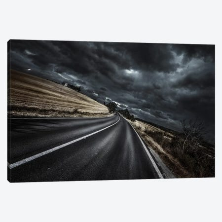 An Asphalt Road With Stormy Sky Above, Tuscany, Italy. 3-Piece Canvas #TRK2422} by Evgeny Kuklev Canvas Wall Art