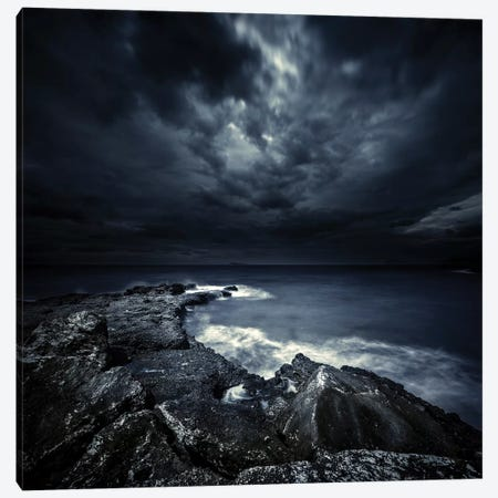 Black Rocks Protruding Through Rough Seas With Stormy Clouds, Crete, Greece. Canvas Print #TRK2428} by Evgeny Kuklev Canvas Wall Art