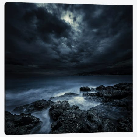 Black Rocks Protruding Through Rough Seas With Stormy Clouds, Crete, Greece. Canvas Print #TRK2429} by Evgeny Kuklev Canvas Art