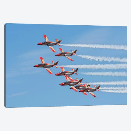 Spanish Aerobatic Team Patrulla Aguila Performing At An Airshow In Morocco Canvas Print #TRK242} by Daniele Faccioli Canvas Art Print