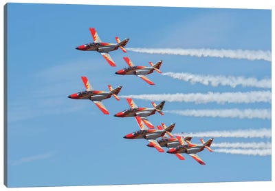 Spanish Aerobatic Team Patrulla Aguila Performing At An Airshow In Morocco Canvas Art Print
