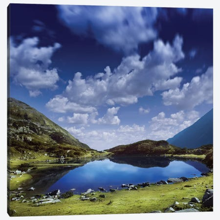 Blue Lake In The Pirin Mountains Over Tranquil Clouds, Pirin National Park, Bulgaria. Canvas Print #TRK2430} by Evgeny Kuklev Art Print